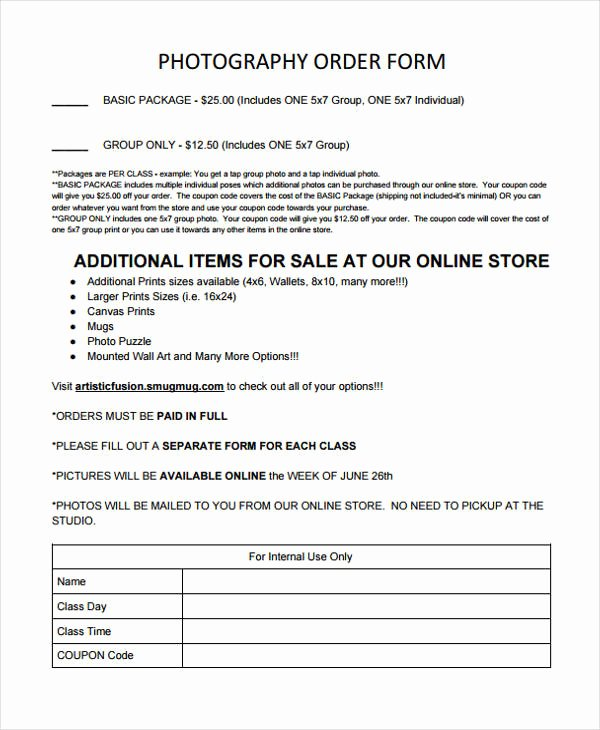 Photography order form Template Awesome 28 order forms In Pdf