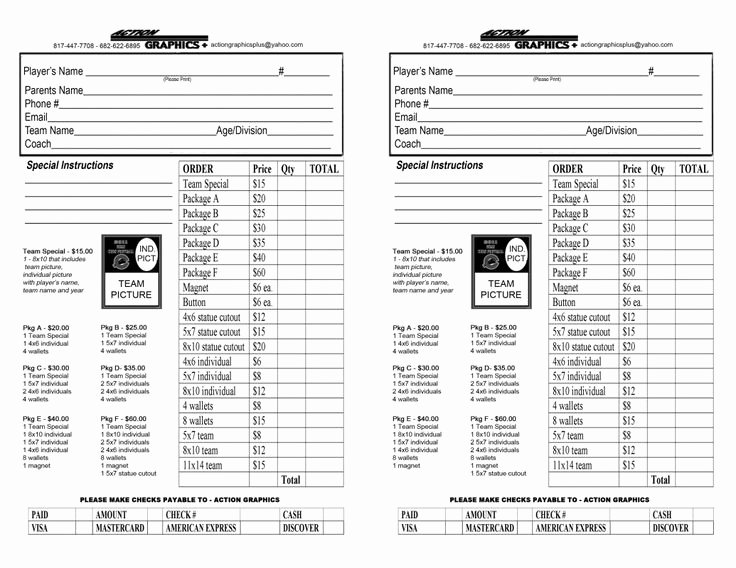 Photography order form Template Awesome Youth Sports Photography order form