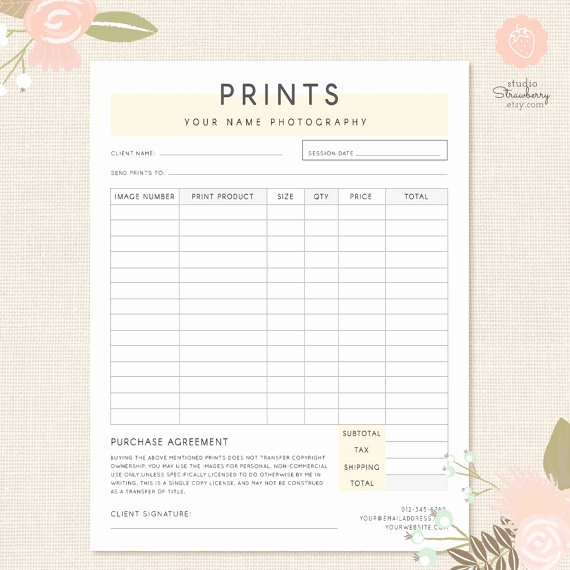 Photography order form Template Best Of order form Template Graphy order form Graphy