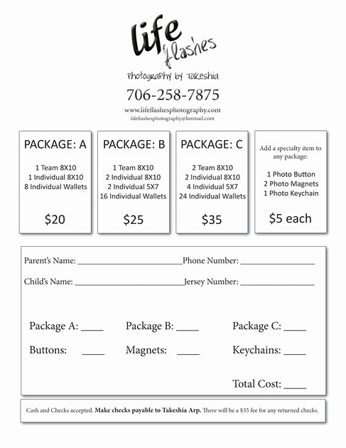 Photography order form Template Best Of Youth Sports Photography order form