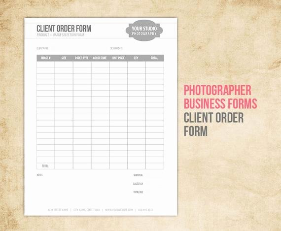 Photography order form Template Fresh Graphy Business forms Client order form for