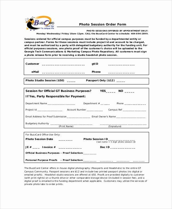 Photography order form Template Fresh Sample Graphy order form 10 Examples In Word Pdf