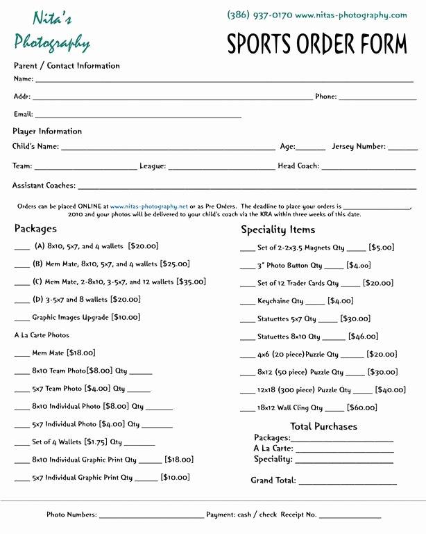 Photography order form Template Inspirational 10 Best Of Graphy order form Envelopes