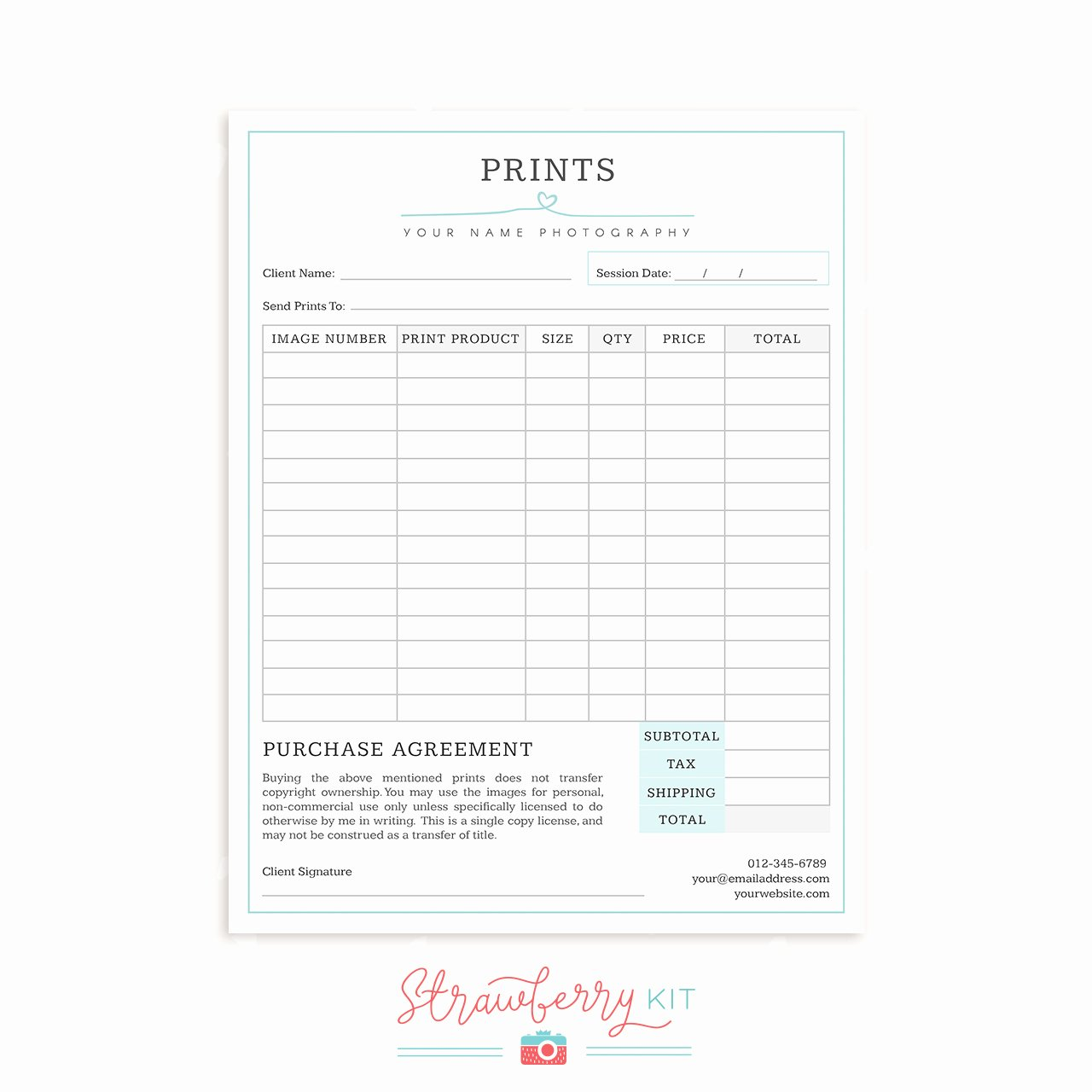 "Photography order form Template Inspirational Graphy form Templates Bundle ""simply Chic"