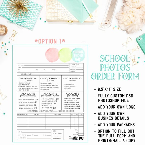Photography order form Template Inspirational School Preschool Daycare Graphy order form Template