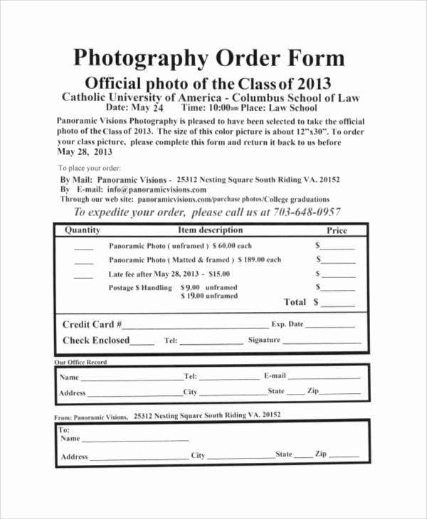 Photography order form Template Luxury Graphy order form