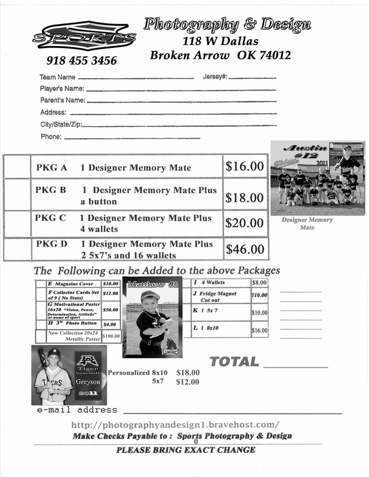 Photography order form Template Unique Youth Sports Photography order form
