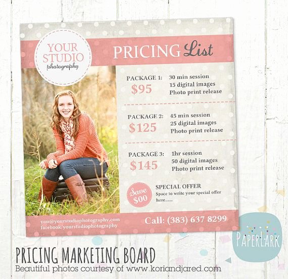 Photography Price List Template Awesome Graphy Pricing Packages Marketing Board Shop