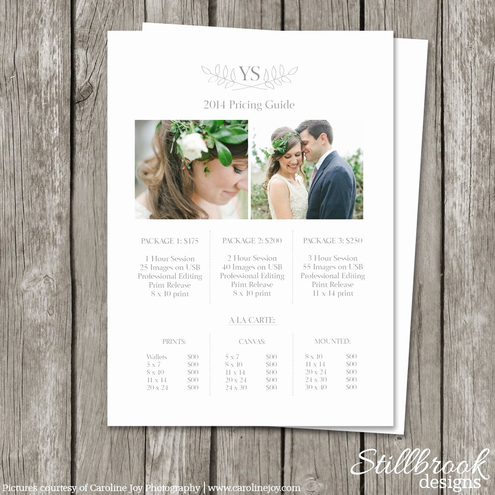 Photography Price List Template Awesome Graphy Pricing Sheet Template Price List Guide