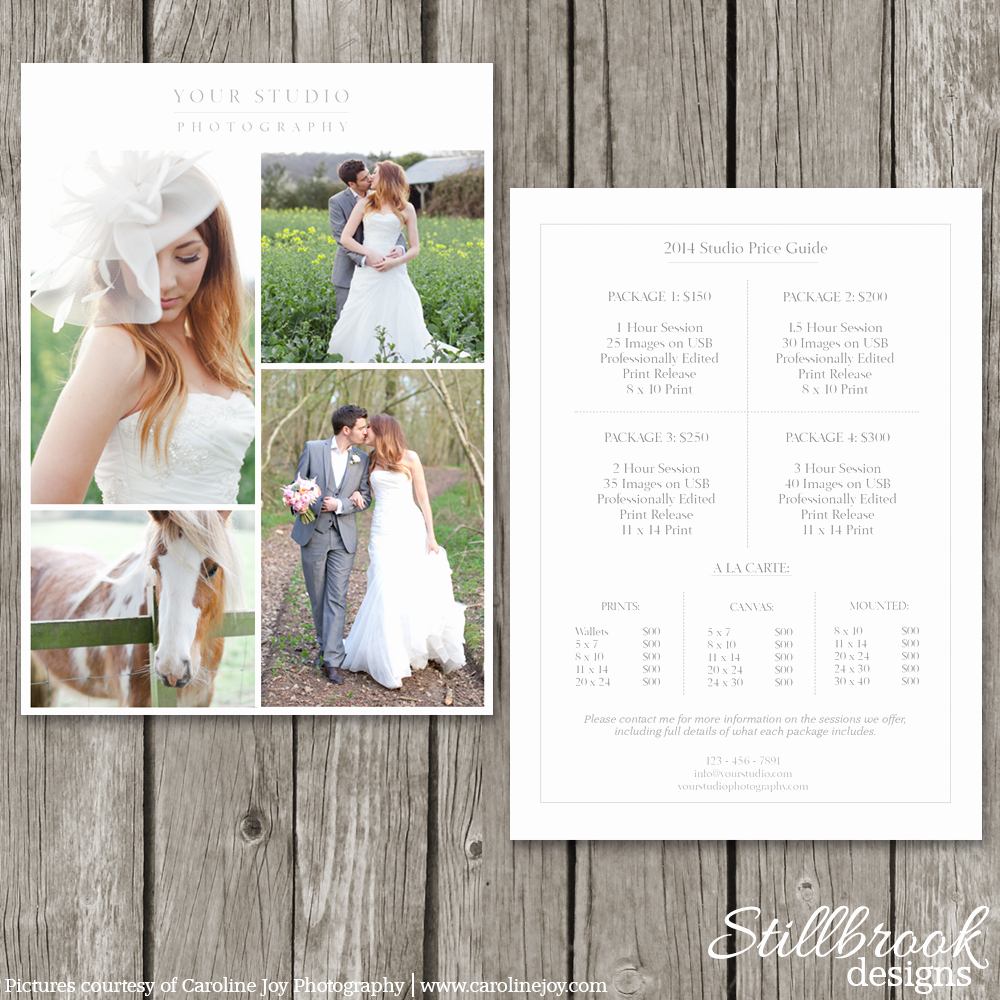 Photography Price List Template Awesome Modern Graphy Price List Template Deals