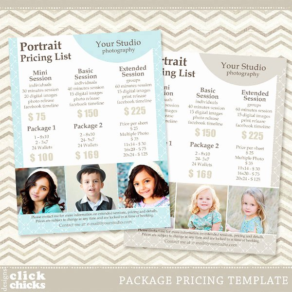 Photography Price List Template Beautiful Graphy Package Pricing List Template Portrait