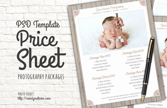 Photography Price List Template Beautiful Graphy Packages Price List Psd Templates On