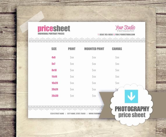Photography Price List Template Beautiful Graphy Price List Pricing Sheet for Graphers