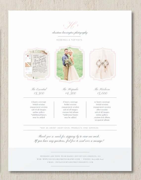 Photography Price List Template Beautiful Graphy Pricing Template Wedding Grapher Pricing
