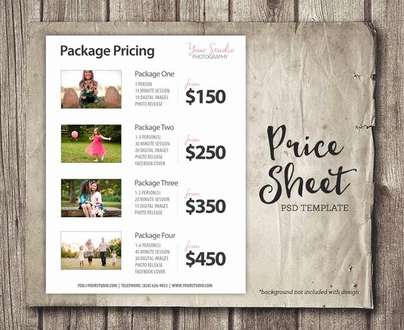 Photography Price List Template Best Of Price List Template Graphy Pricing List Sell Sheet