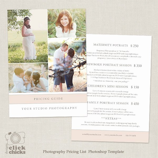 Photography Price List Template Elegant Graphy Package Pricing List Template Graphy