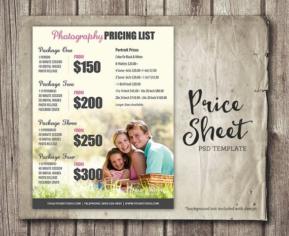 Photography Price List Template Luxury Graphy Template Graphy Price List Marketing Psd