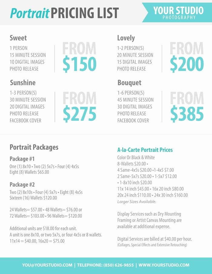 Photography Price List Template Unique Graphy Package Pricing Grapher Price List