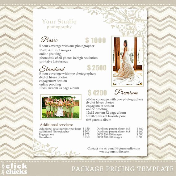 Photography Price List Template Unique Graphy Package Pricing List Template Wedding Packages