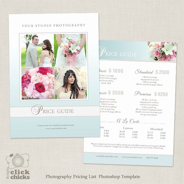 Photography Price List Template Unique Wedding Graphy Package Pricing List Template