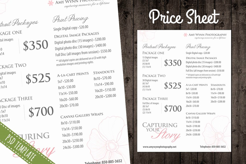 Photography Price Sheet Template Awesome Modern Graphy Price List Template Deals