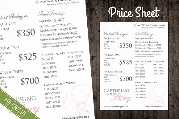 Photography Price Sheet Template Awesome Price List Template Pricing Sheet Flyer Templates