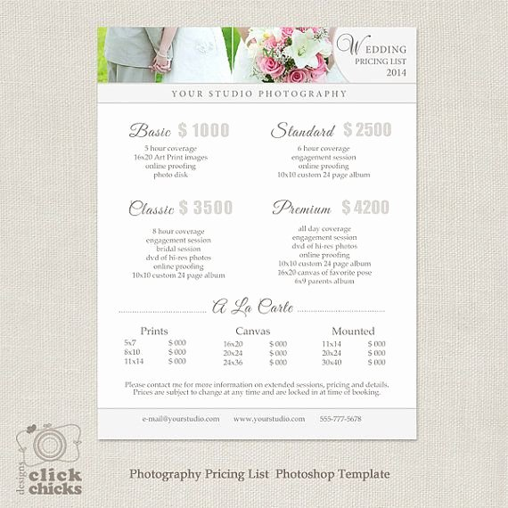 Photography Price Sheet Template Awesome Wedding Graphy Package Pricing List Template