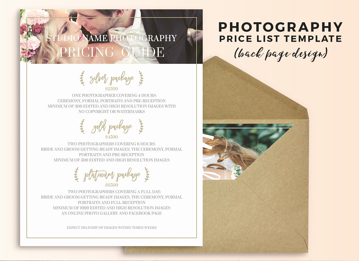 Photography Price Sheet Template Awesome Wedding Graphy Price List Shop Template On Behance