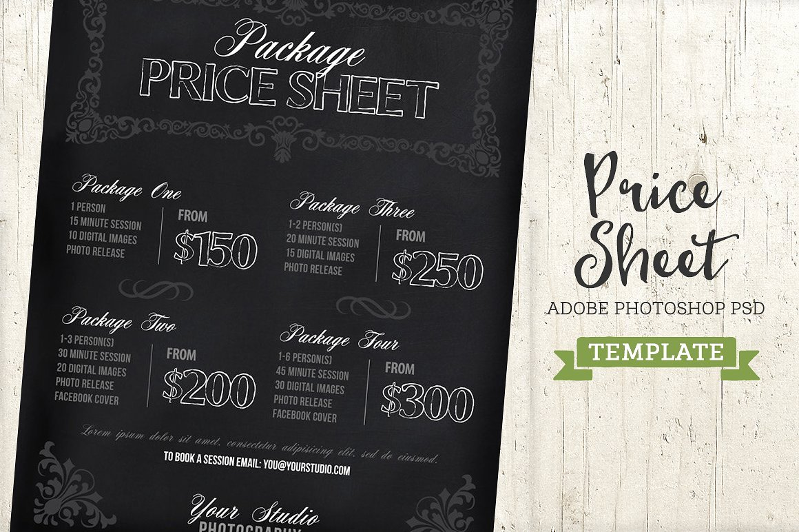 Photography Price Sheet Template Beautiful Chalkboard Price List Sheet Template Templates