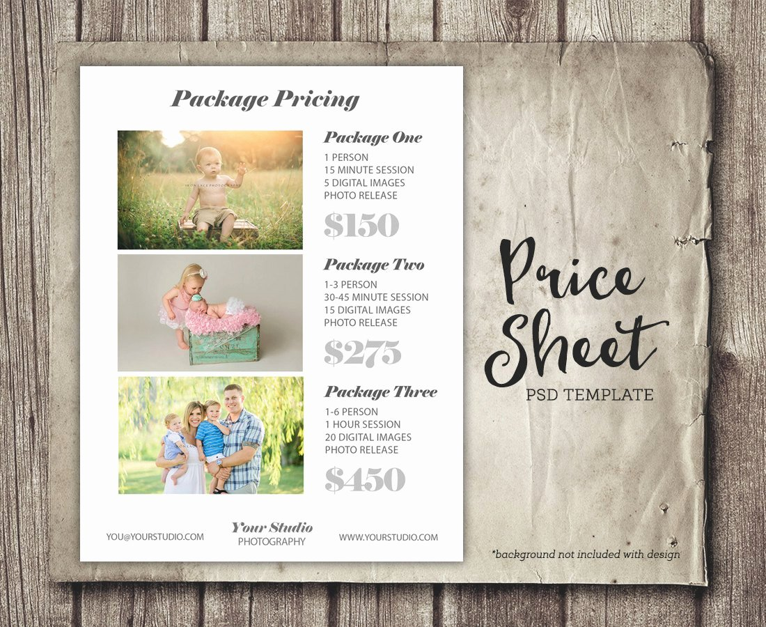 Photography Price Sheet Template Beautiful Graphy Template Price List Sheet Marketing