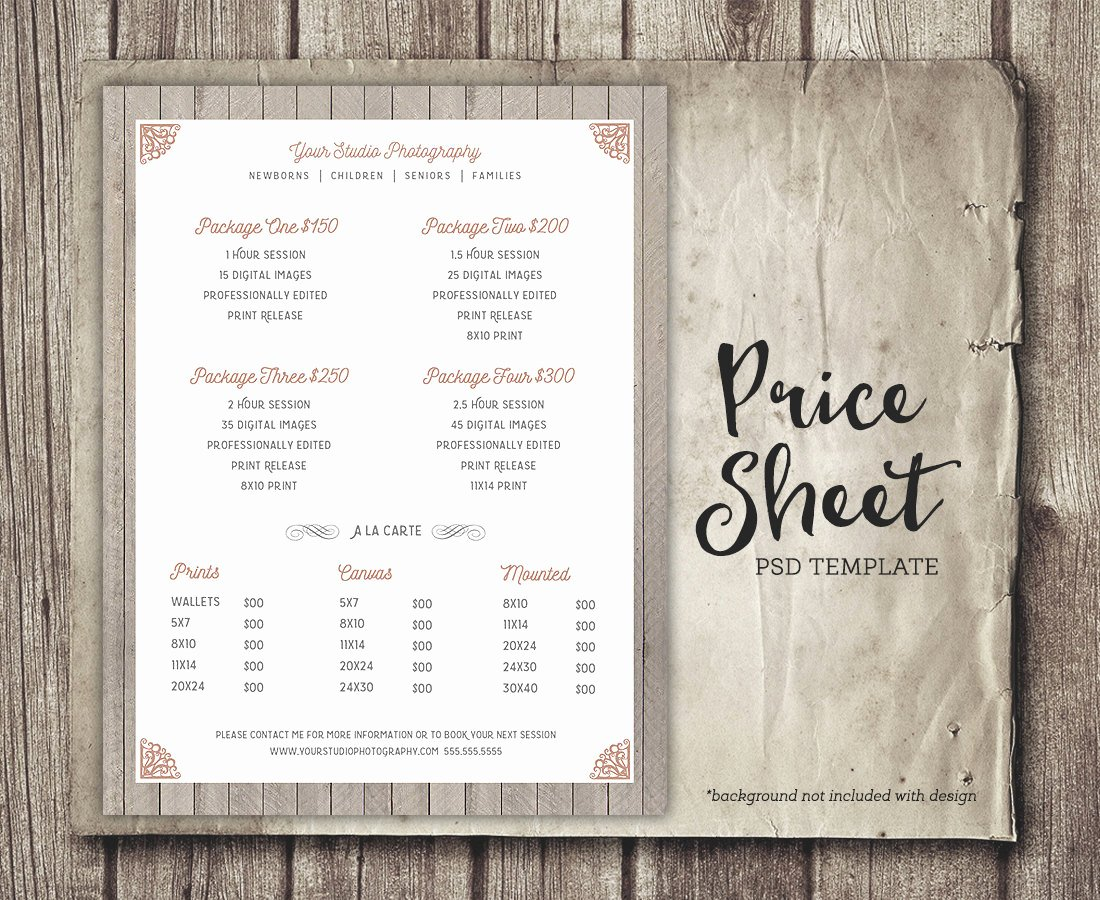 Photography Price Sheet Template Beautiful Price Sheet Graphy Template Graphy Price List
