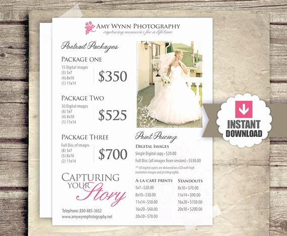 wedding photography price list session