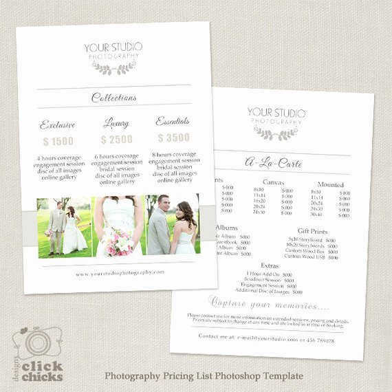 Photography Price Sheet Template Best Of Wedding Graphy Pricing List Template Graphy