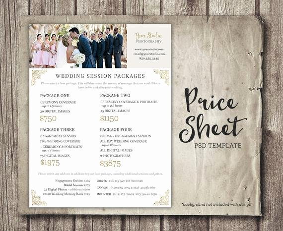 Photography Price Sheet Template Elegant Wedding Graphy Price Sheet Price List Template