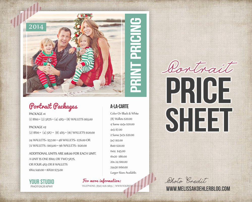 Photography Price Sheet Template Inspirational Price Sheet List Psd Template Flyer Templates On