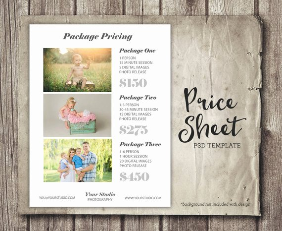 Photography Price Sheet Template Luxury Graphy Template Price List Sheet Marketing