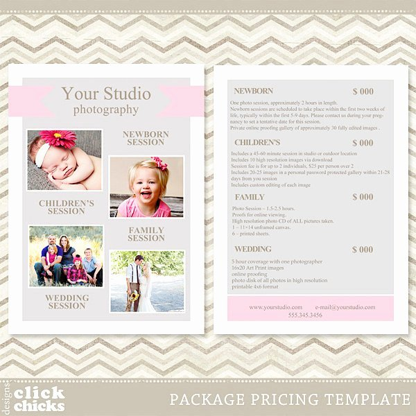 Photography Price Sheet Template New Graphy Package Pricing List Template Price List Price