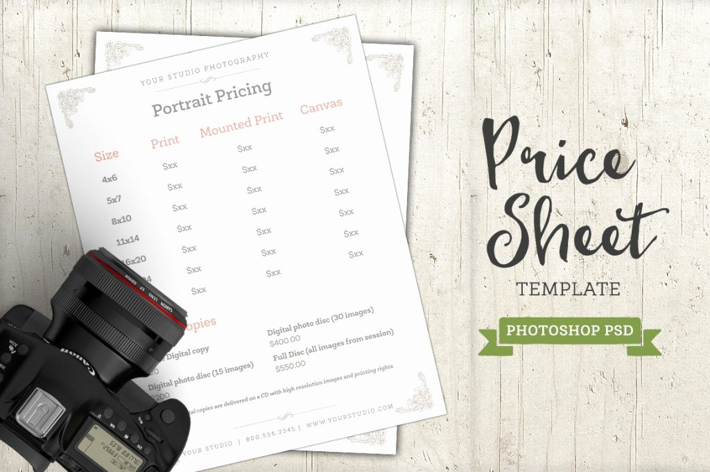 Photography Price Sheet Template New Modern Graphy Price List Template Deals