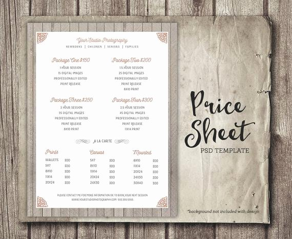 Photography Price Sheet Template New Price Sheet Graphy Template Graphy Price List
