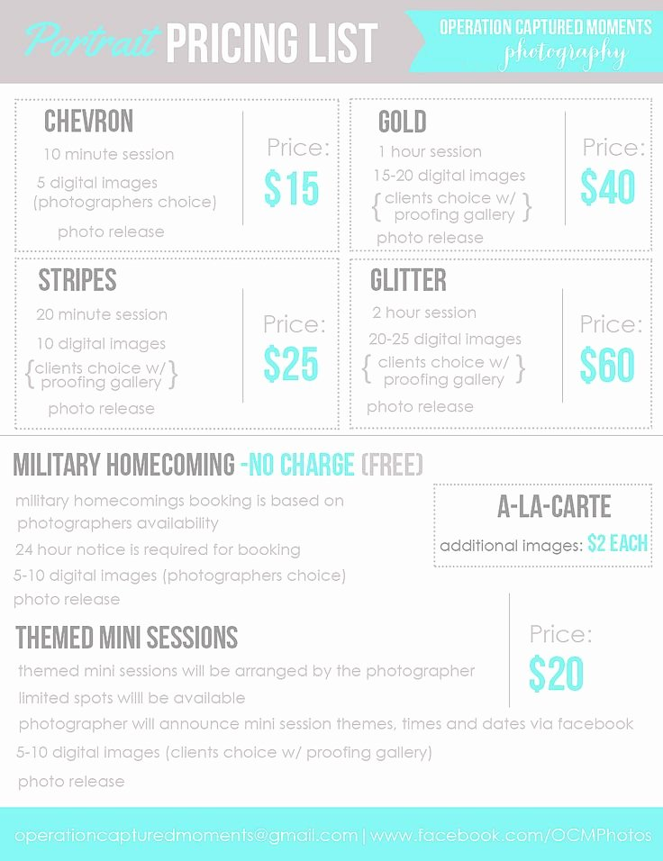 Photography Pricing Guide Template Beautiful Best 25 Graphy Price List Ideas On Pinterest