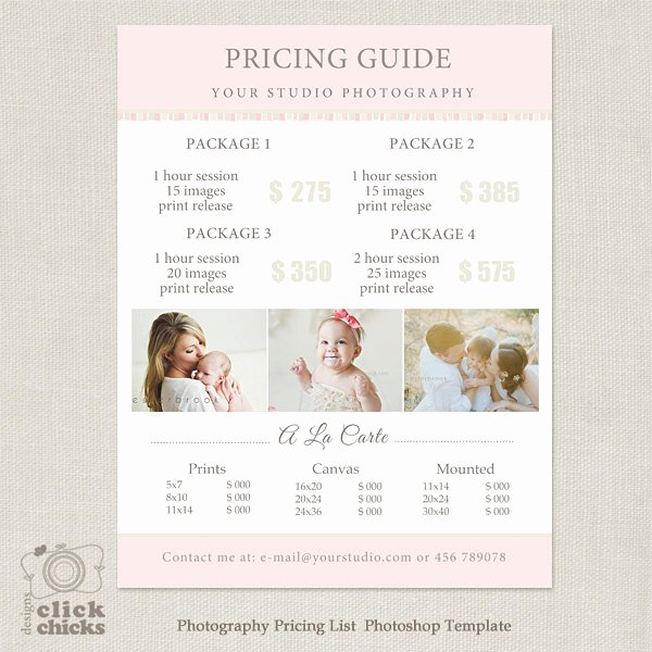 Photography Pricing Guide Template Beautiful Graphy Package Pricing List Template Graphy