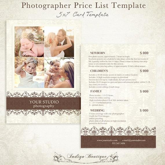 Photography Pricing Guide Template Elegant Grapher Price List Graphy Package by Indigoboutique