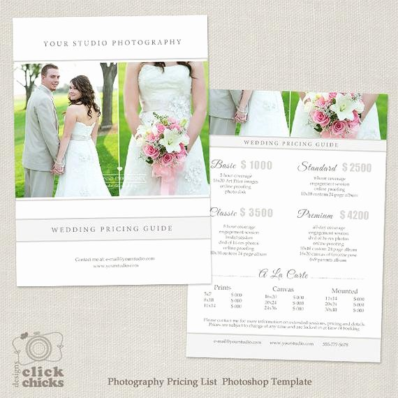 Photography Pricing Guide Template Elegant Wedding Graphy Package Pricing List Template