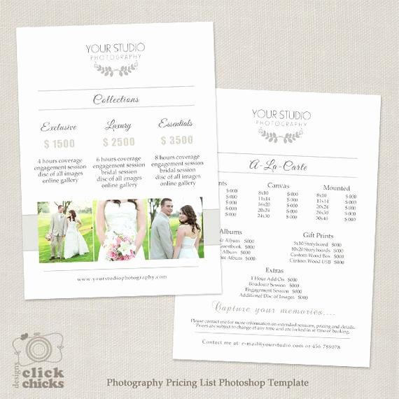 Photography Pricing Guide Template Elegant Wedding Graphy Pricing List Template Graphy