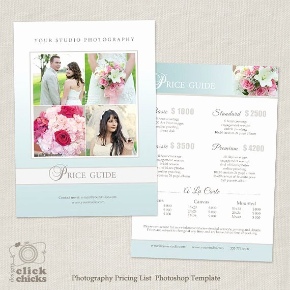 Photography Pricing Guide Template Inspirational Wedding Graphy Package Pricing List Template