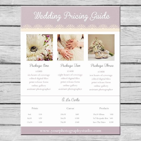 Photography Pricing Guide Template Unique Wedding Graphy Pricing Guide Template by
