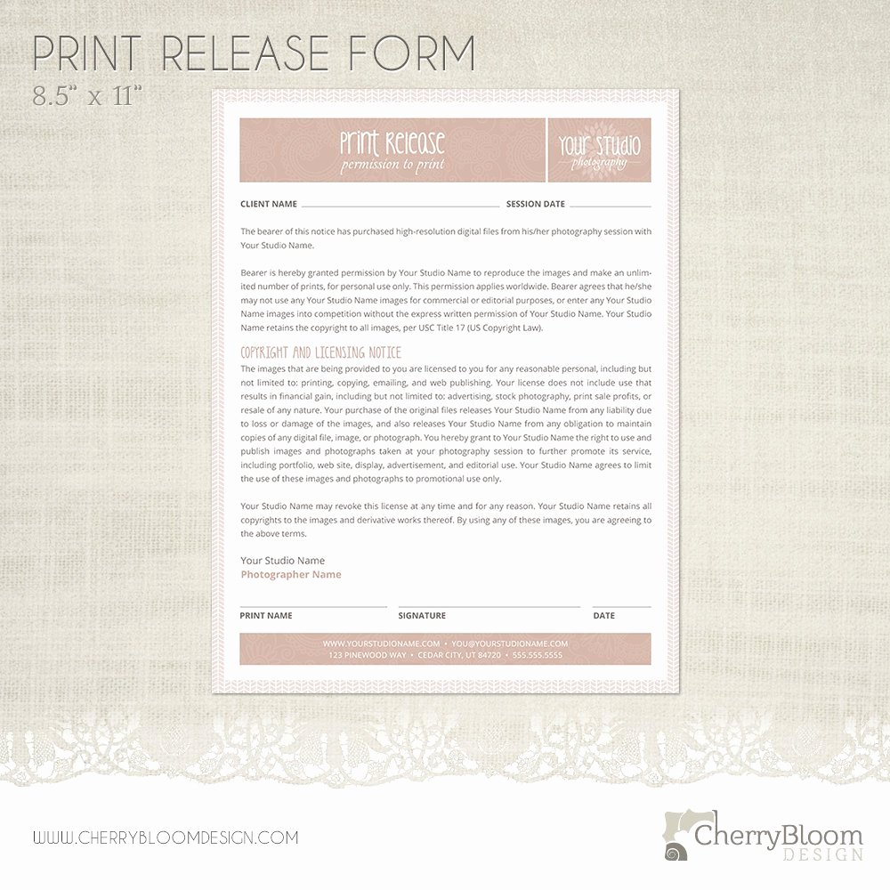 Photography Print Release Template Fresh Print Release form Template for Graphers Grapher