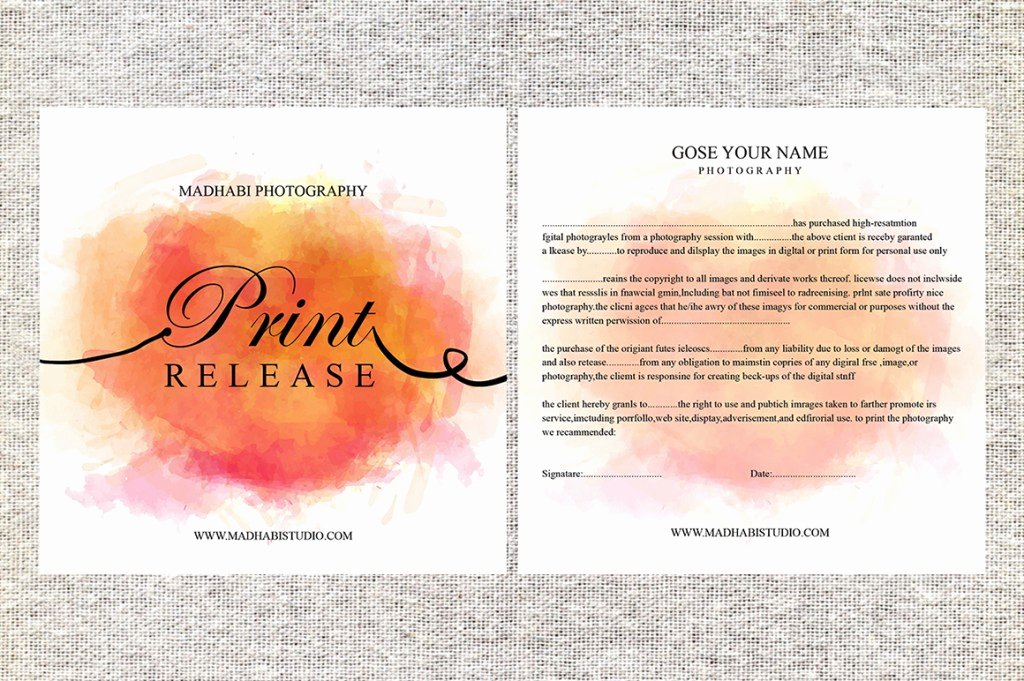 Photography Print Release Template Fresh Release form Template Deals for Your Studio