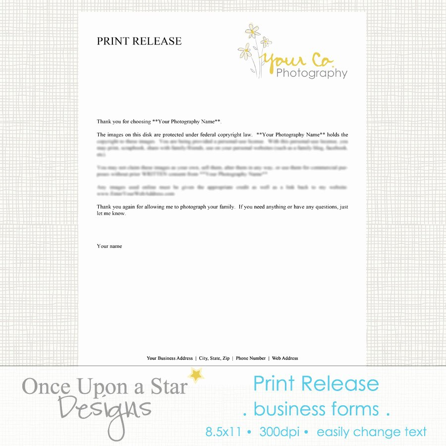 Photography Print Release Template Lovely Graphy forms Print Release form by Ceuponastardesigns