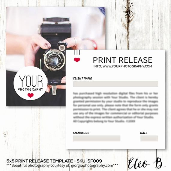 Photography Print Release Template Luxury 5x5 Print Release form Print Release Card Template